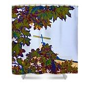Cross Framed By Leaves Shower Curtain