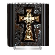 Cross In Leather Shower Curtain
