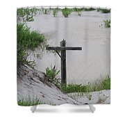 Cross In The Dunes Shower Curtain
