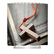 Cross On Bible Shower Curtain