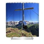cross on Crepa Neigra peak Shower Curtain
