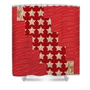 Cross Through Sparkle Stars On Red Silken Base Shower Curtain by Navin Joshi