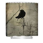 Crow On A Crooked Old Cross Shower Curtain