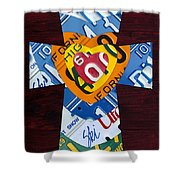 Cross With Heart Rustic License Plate Art On Dark Red Wood Shower Curtain