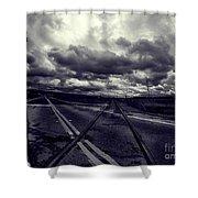 Crossed Tracks Shower Curtain