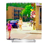 Crossing Notre Dame At Charlevoix To Dilallo Burger Montreal Summer City Scene Carole Spandau Shower Curtain