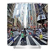 Crossing The City Street Shower Curtain