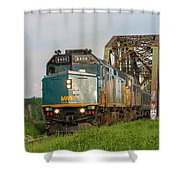 Via Train Crossing The Miramichi River Shower Curtain by Steve Boyko