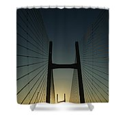 Crossing The Severn Bridge At Sunset - Cardiff - Wales Shower Curtain