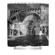 Croton Dam Bw Shower Curtain by Susan Candelario
