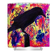 Crow On Red Shower Curtain