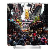 Crowds Throng Shanghai Chenghuang Miao Temple Over Lunar New Year China Shower Curtain
