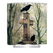 Urban Graveyard Crows Shower Curtain