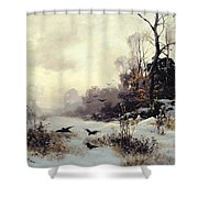 Crows In A Winter Landscape Shower Curtain by Karl Kustner