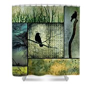 Crows In Nature Collage Shower Curtain