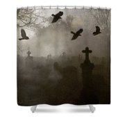 Crows On A Eerie Night Shower Curtain
