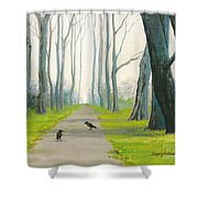 Crows On The Path Shower Curtain