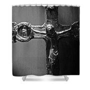 Crucifix Illuminated Shower Curtain