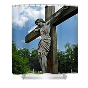 Crucifix Statue St James Cemetery Sewickley Heights Pennsylvania Shower Curtain