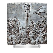 Crucifixion Shower Curtain by Johann or Hans von Aachen