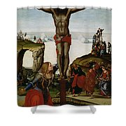 Crucifixion With Mary Magdalene Shower Curtain