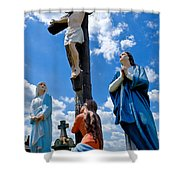 Cruficix Statue At St Alphonsus Church Wexford  Shower Curtain