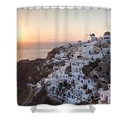 Cruise Ship At Sunset In The Mediterranean Sea Santorini Greece Shower Curtain