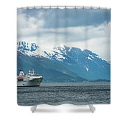 Cruise Ship In The Sognefjord In Norway Shower Curtain