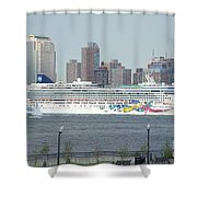 Cruise Ship On The Hudson Shower Curtain