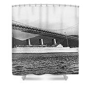 Cruise Ship Under Sf Bridge Shower Curtain