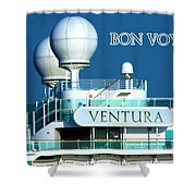 Cruise Ship Ventura's Radar Domes Shower Curtain by Terri Waters