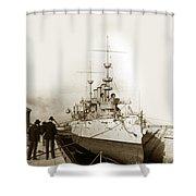 Cruiser Uss New York Going Into Dry Dock San Francisco Circa 1903 Shower Curtain