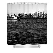 Cruising Elliott Bay Black And White Shower Curtain