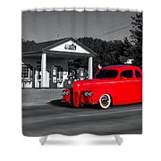 Cruising Route 66 Dwight Il Selective Coloring Digital Art Shower Curtain