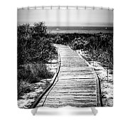 Crystal Cove Wooden Walkway In Black And White Shower Curtain