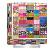 Crystal Stone Collage Layered In Small And Medium Sizes Variety Of Shades And Tones From Reiki Heali Shower Curtain