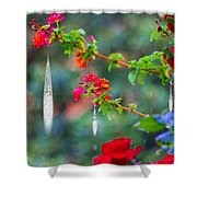 Crystals On Flowers Shower Curtain