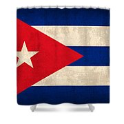 Cuba Flag Vintage Distressed Finish Shower Curtain