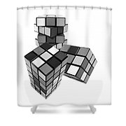 Cubed - Shades Of Grey Shower Curtain