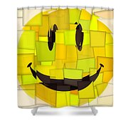 Cubism Smiley Face Shower Curtain