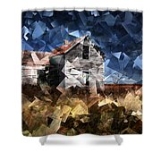Cubist Abandoned Prairie Farm House Shower Curtain