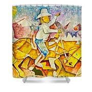 Cubist Cowboy Shower Curtain