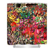 Tulips Of Many Colors - Nyc Markets Shower Curtain