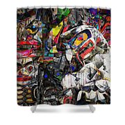 Cubist Photographic Composition Of Totem Poles Shower Curtain
