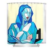 Cubistic Blue Lady Shower Curtain