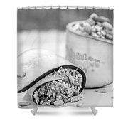 Cucumber Rolls Black And White Shower Curtain