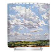 Cumulus Clouds Over Flint Hills Shower Curtain by Erin Fickert-Rowland