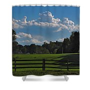 Cumulus Over Green Pastures Shower Curtain