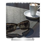 Cup Of Coffee And Sunglasses Shower Curtain