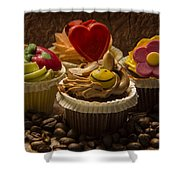 Cupcakes And Coffee Beans Shower Curtain